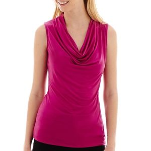 Cowl Neck Tank Top - Magenta - Small